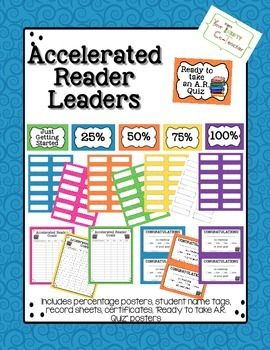 """Everything you need to keep your students motivated about achieving their AR goals, as well as, keep track of their progress.  Included in this product:  7 sets of half sheet % posters  7 sets of white full sheet % posters  7 """"Ready to Take an A.R. Quiz poster  7 sets of student's name tags  7 Accelerated Reader recording sheet  7 sets of Congratulations certificate  * All available in blue, green, orange, yellow, purple, pink, and white, to mix and match"""