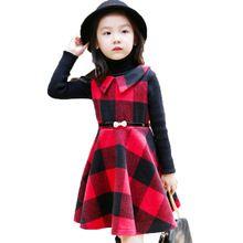 Девушки одеваются красный плед рождественские для девочек 2015 зимой дети платья для девочек в возрасте 4 - 12 детской одежды 343(China (Mainland))