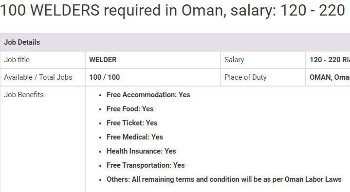 Welder Jobs In Oman 2019 Welder Jobs Jobs In Pakistan Job Benefits