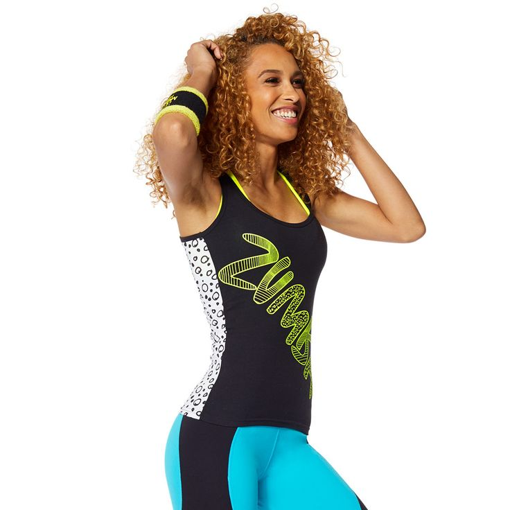 ZUMBA COMIC RACERBACK - BACK TO BLACK ------------------------ Funk up the dance floor in the Zumba Comic Racerback! This regular length tank features Z-Dri® technology to wick away sweat and a fun print to add some attitude to your outfit.