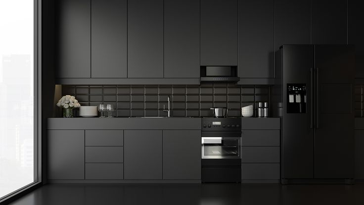 Voll ins Schwarze.   Küche schwarz, Moderne küche, Arbeitsplatte schwarz
