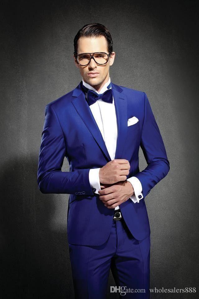 Newest Slim Fit Groom Tuxedos Royal Blue Best man Suit Notch Lapel Groomsman Men Wedding Suits Bridegroom(Jacket Pants Tie Girdle)J692