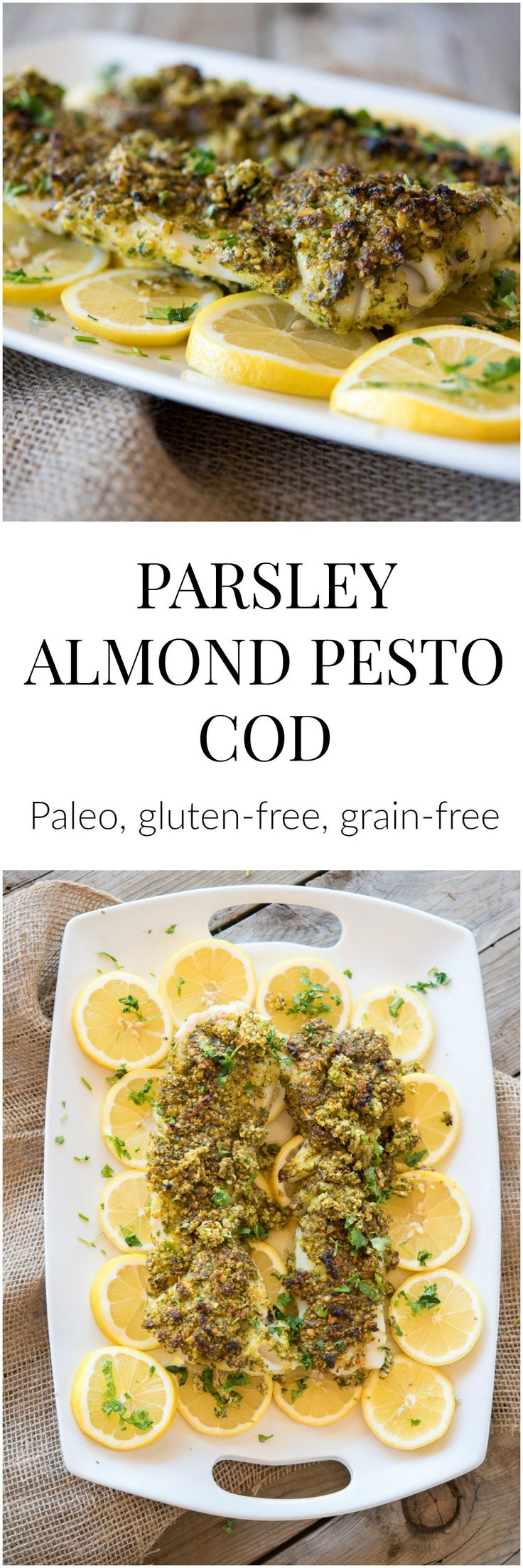 Paleo Parsley Almond Pesto Cod - a recipe for a gluten-free and dairy-free broiled fish dinner which takes less than 15 minutes from start to finish.