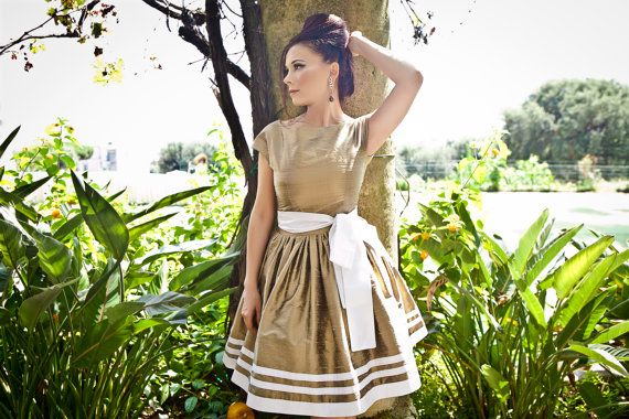 1950s gold prom dress 50s short silk bridesmaid by ElaSiromascenko