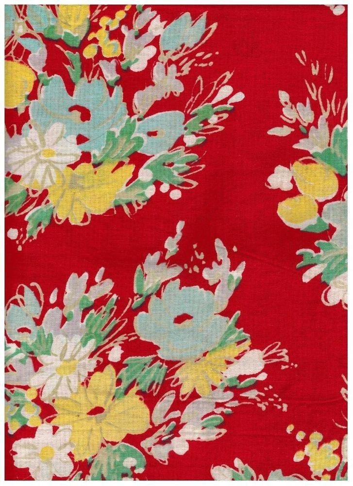 rideau tissu coton bouquets de fleurs sur fond rouge vintage ann es 50 flower bunches print. Black Bedroom Furniture Sets. Home Design Ideas
