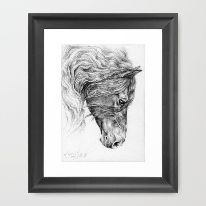 FRIESIAN HORSE Framed Art Print by Canisart   #art #horse #equineart #artprint #friesian #black #home #design #decor #canisartstudio