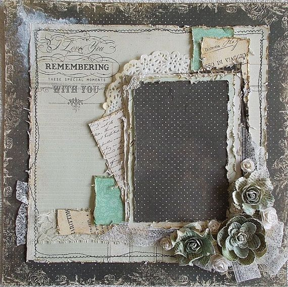 art journal inspiration - Premade 12x12 Shabby Chic Heritage Layout Vintage by Featherrs, $30.00
