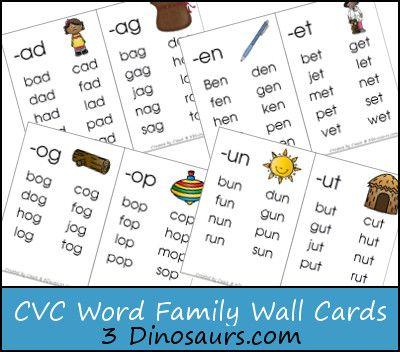 FREE CVC Word Family Wall Cards: -ad, -ag, -am, -an, -ap, -ar, at, -ed, -en, -et, -ig, -in, -ip, -it, -og, -op, -ot, -ow, -ox, -ug, -un, & -ut - 3Dinosaurs.com
