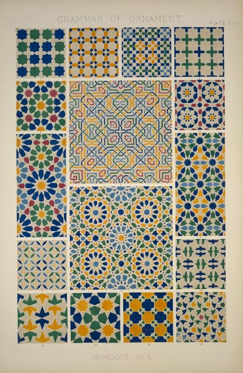 Moresque ornament from the Alhambra, No. 5, from The Grammar of Ornament.