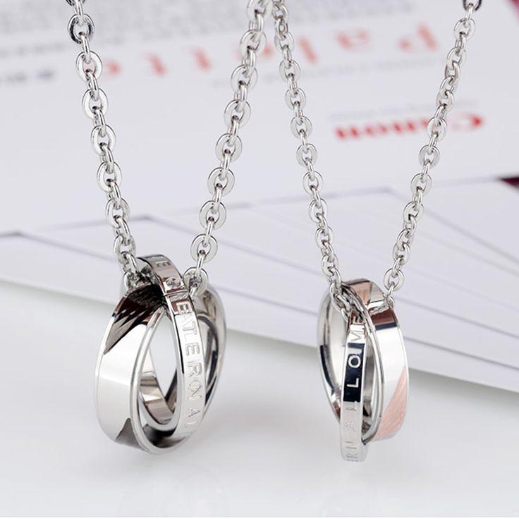 Yakamoz Новая мода циркон Пары Ожерелье Панк Кристалл нержавеющей ожерелье для женщин мужчин изделия День святого Валентина подарки