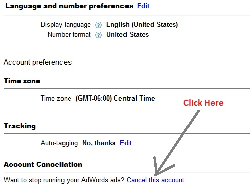 how to delete adwords account completely