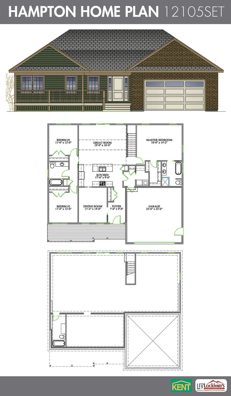 Hampton 3 bedroom 3 bath ranch style home plan features for Open concept ranch homes