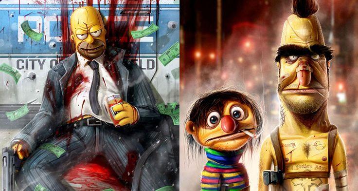 Dan LuVisi Ilustra la Versión Terrorífica de los Personajes Animados de la Cultura Pop