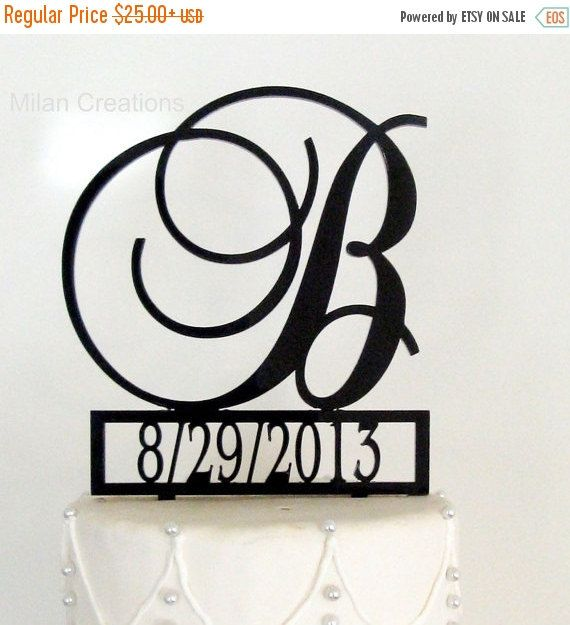 ON SALE Monogram Wedding Cake Topper with Event by MilanCreations