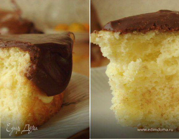 Бостонский кремовый пирог (Boston cream pie). Ингредиенты: сахар, мука, кукурузный крахмал | Кулинарный сайт Юлии Высоцкой: рецепты с фото