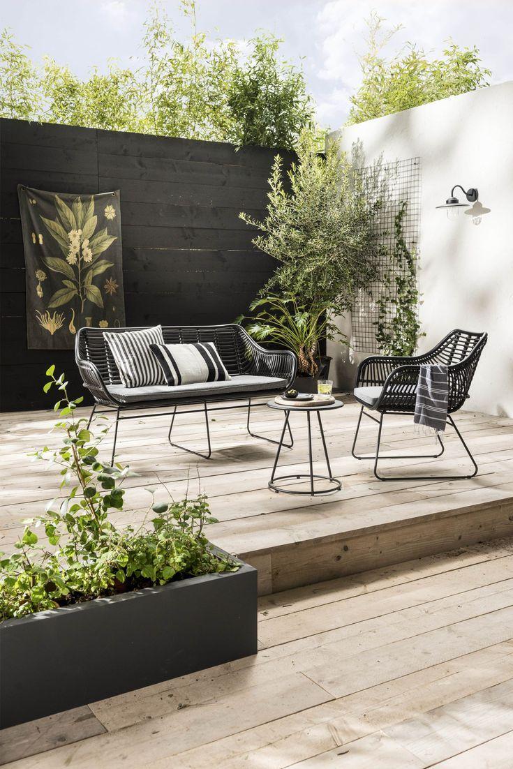 Schwarzer und weißer Garten des städtischen Treffens