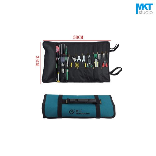 1Pcs Drum type Blue 58x35cm Oxford Cloth Durable Waterproof Tools Container Storage Waist Bag,Electrical Tools Bag