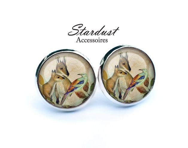 Ohrstecker silber ✿ Kängurus und Vogel ✿ von Stardust Accessoires auf DaWanda.com