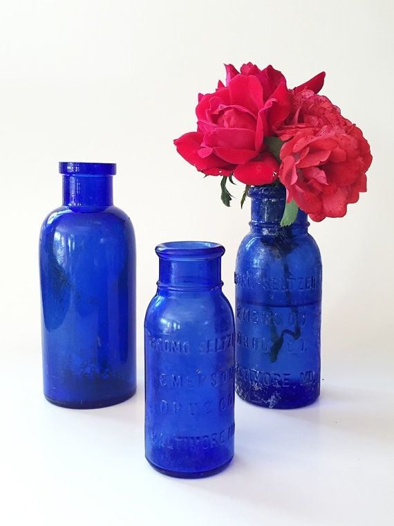 SALE Blue Apothecary Bottles Cobalt Blue Bottles by vintagebiffann