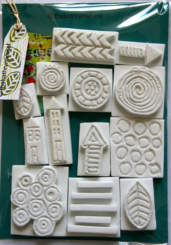 Foam stamps, hand carved, mixed media