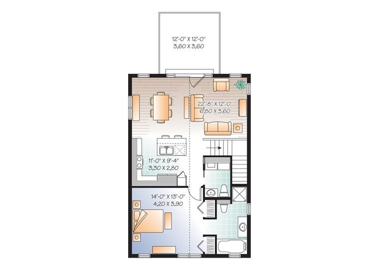 One Car Garage Apartment Plan Makes Nice Guest House Or Vacation Home; 1  Bedroom, Baths, 1015 Square Feet Of Finished Space, Size