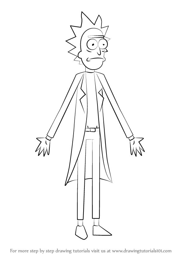 How to Draw Rick from Rick and Morty , DrawingTutorials101