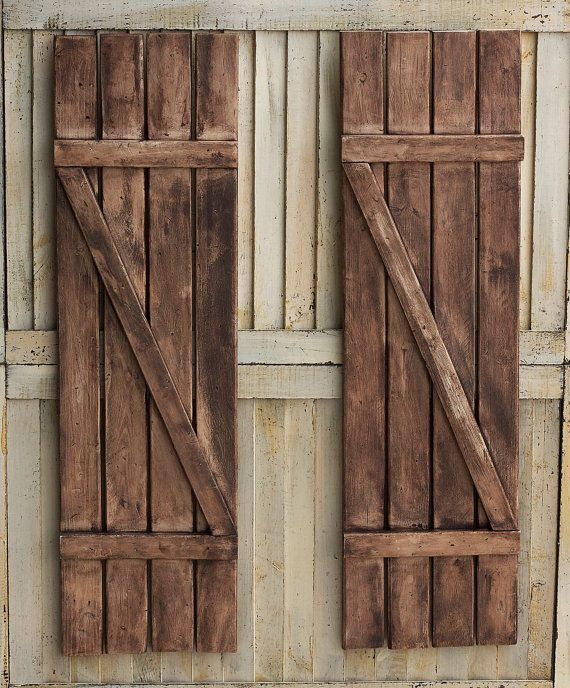 Rustic Shutters - Farmhouse Shutters - Country Shutters - Primitive Shutters - Barnwood Shutters - Rustic Wooden Shutters - Wooden Shutters