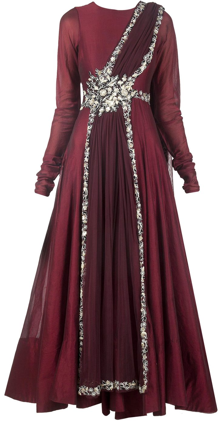 Maroon anarkali with attached dupatta available only at Pernia's Pop-Up Shop.