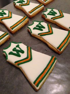 Cheer Uniform Cookies/ NEED THESE IN MY SCHOOL COLORS!!! Gotta celebrate making VARSITY!