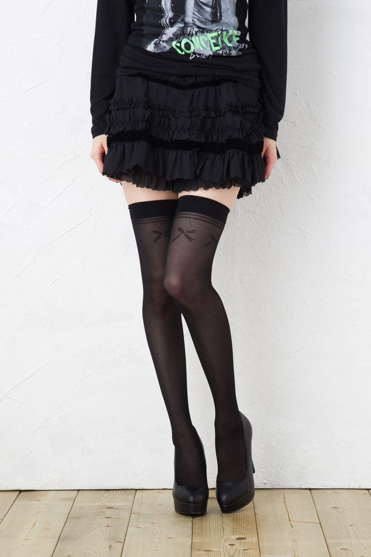 Ribon garter stockings 【モア】トップリボン ガーターストッキング