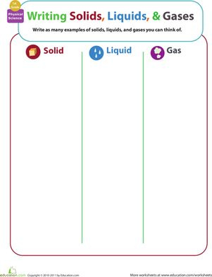 First Grade Physical Science Worksheets: Matter Mixup: Writing Solids, Liquids, and Gases