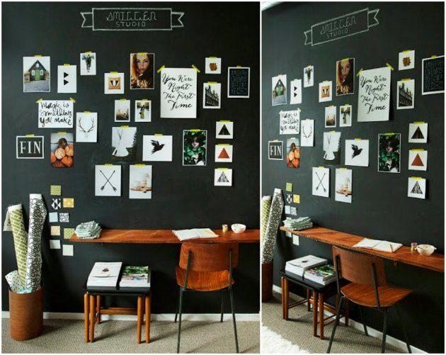 væg malet med tavlemaling til udklip og postkort og tavlekridt
