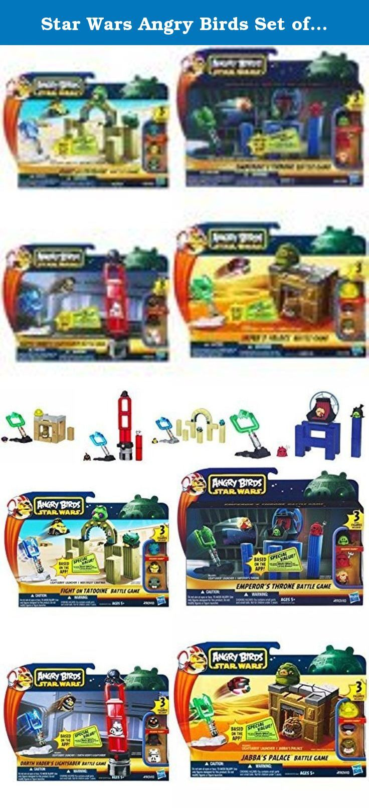 Star Wars Angry Birds Set of 4 Battle Games. Includes Star Wars Angry Birds Emperor's Throne Room Battle Game Star Wars Jabba's Palace Battle Game Star Wars Darth Vader's Lightsaber Battle Game Angry Birds Star Wars Fight On Tatooine Battle Game.