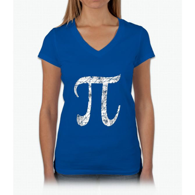 Pi Greek Letter Symbol Grunge Style Womens V Neck T Shirt Products
