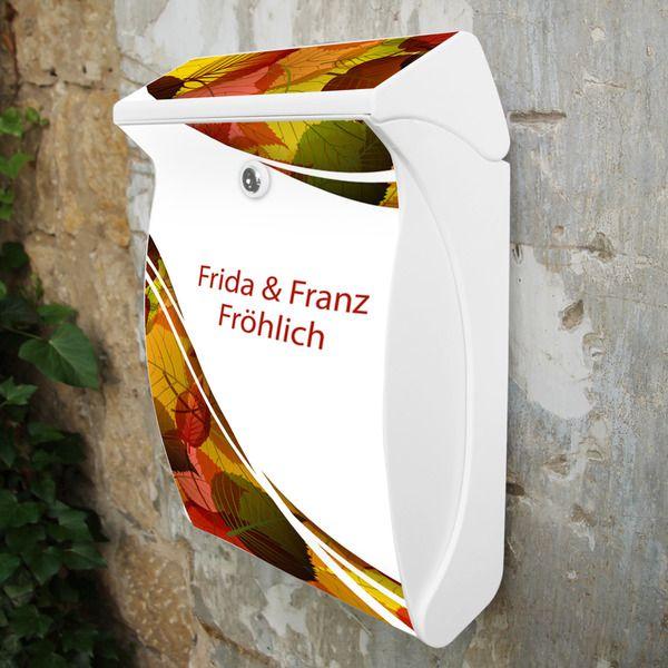 Wunschtext Briefkasten Weiß Motiv Herbstlaub von banjado via dawanda.com
