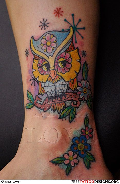 Owl Tattoo with stars and flowers