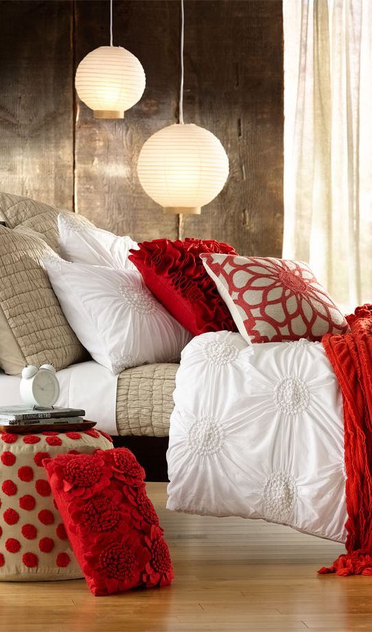 At Home Chloe Bedding Collection / Romantic Bedding / Red Bed Set