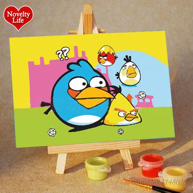 DIY Small Picture Painting By Numbers with Easel Spongebob Children ...