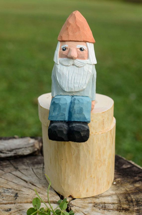 Tree Branch Box with Gnome  Rustic Folk Art by DuckMarshStudio, $36.50