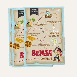 Invitación imprimible de Jake y los Piratas del Nunca Jamás. Mirá todas las fotos en www.cumplekits.com
