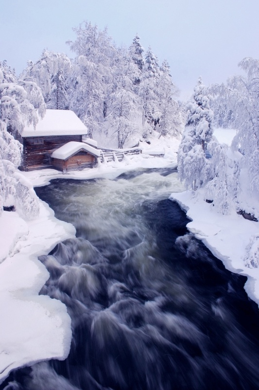 Winter at Myllykoski falls and old mill in Kitka river, Finnish Lapland