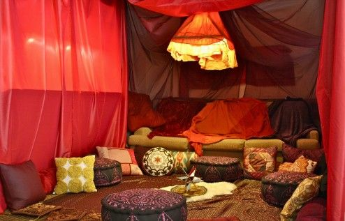 Decoration, Diy Romantic Moroccan Living Room Surrounding Surround With Red Traditional Curtain Interior Design With Colorful Throw Pillows And Round Moroccan Ottoman On Moroccan Rug Ideas ~ Simple Romantic Room Ideas to Bring Serene Mood into Your Room