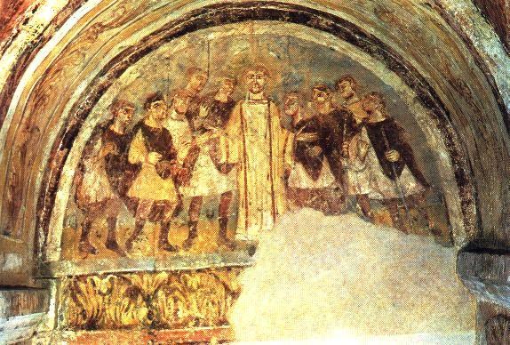 Fresque carolingienne de la crypte de l'Abbaye Saint Germain à Auxerre