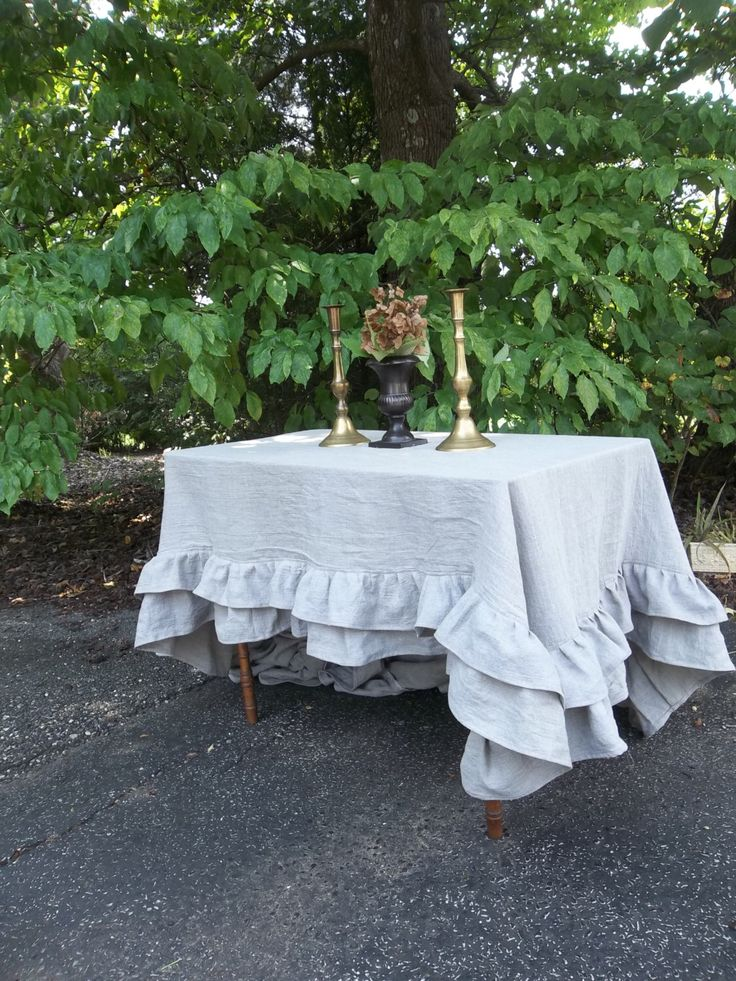 Custom Double Ruffle Linen Tablecloth Ruffled Tablecloth Multi Ruffle Tablecloth Ruffled Linen Tablecloth Wedding Decoration Table Decor by misshettie on Etsy https://www.etsy.com/listing/209167168/custom-double-ruffle-linen-tablecloth