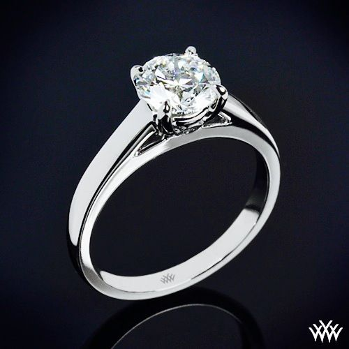 """18k White Gold """"Flush Fit Cathedral"""" Solitaire Engagment Ring. A captivating piece of art, this """"Flush-Fit Cathedral"""" Solitaire Engagement Ring is the perfect choice for those who love subtle sophistication. Two surprise Diamonds rest in the gallery of the head (0.07ctw) and the """"Flush-Fit"""" Design ensures a snug fit with your wedding band."""