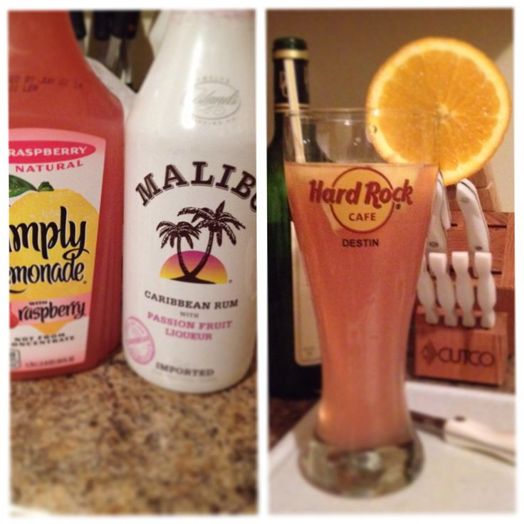 Malibu rum passion fruit flavor and raspberry flavored simply lemonade. I put slices of frozen pineapple and an orange slice for look. Delish!