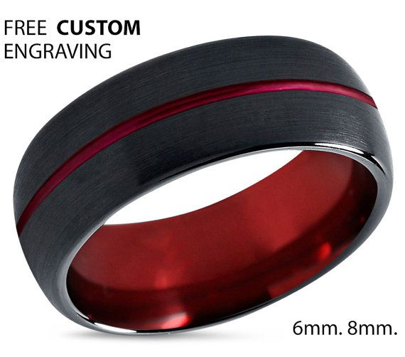 Mens Wedding Band Red Black Wedding Ring Tungsten Ring 8mm