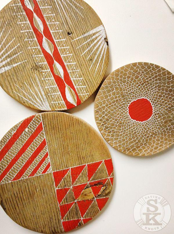 painted wood circle progress - wall hooks