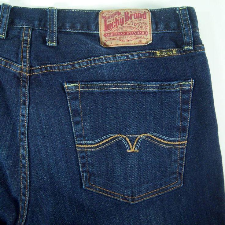 Lucky Brand Dungarees Mens 361 Vtg Straight Dark Wash Blue Jeans 36 Reg 38 x 32 #LuckyBrand #VintageStraight
