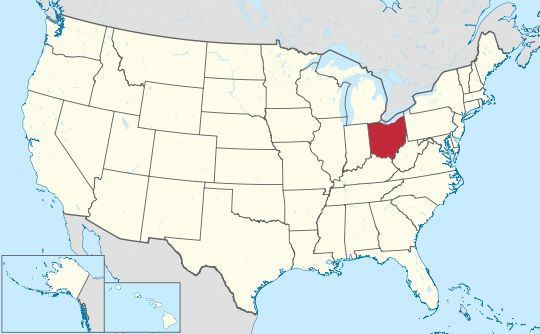 Ohio ♦ Map of the United States with Ohio highlighted